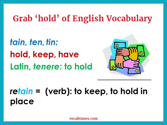 A 'tin' full of childhood memories Grab 'hold' of English Vocabulary